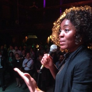 Uchechi pitching wedocracy at TechCrunch New Orleans